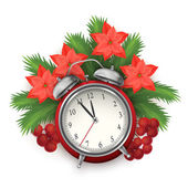 Christmas time composition with alarm clock — Stock Vector
