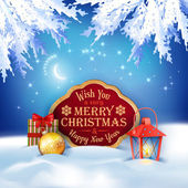 Vector Christmas Winter Night Background — 图库矢量图片