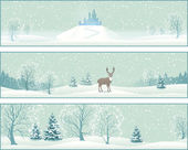 Winter Landscape Vector Banners — Vettoriale Stock