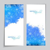 Christmas Vector Watercolor Blue Banners — Stockvector