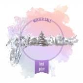 Watercolor Splash Winter Landscape — Stock Vector