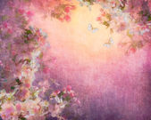 Cherry Blossoms Illustration on Canvas — Stock Photo
