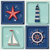 Vector marine theme icons — Stock Vector