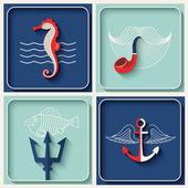 Vector marine theme icons — Stock Vector