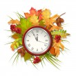 Autumn Vector Fall Leaves and Clock — Stok Vektör #84375488