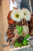 木材とコーンの手作りフクロウ鳥 — ストック写真