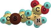 Methionine acid molecule isolated on white — Stock Photo