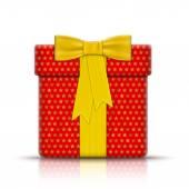 Kağıt tarafından sarılmış gerçekçi hediye kutusu. — Stok Vektör