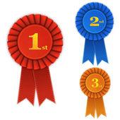 Winner Rosette Set with Ribbons. — Stock Vector