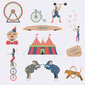 Set of Circus Flat Icons. — Stock Vector