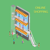 Online Shopping Isometric Concept Illustration. — Stock Vector