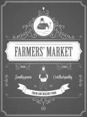 Farmers Market Vintage Advertisement Poster. — Stock Vector