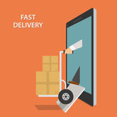Fast Goods Delivery Isometric Vector Illustraion — Stock Vector
