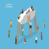 Cloud Storage Isometric Vector Concept — Stock Vector