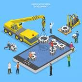 Mobile app development flat isometric vector — Stock Vector
