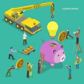 Crowdfunding flat isometric vector concept. — Stock Vector