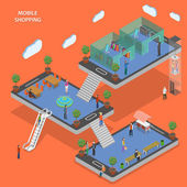 Mobile shopping flat isometric vector concept. — Stock Vector