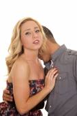 Woman hand on mans chest close man kiss neck — Stock Photo