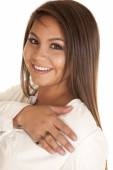 Woman smiling with a love ring — Stock Photo