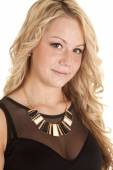 Woman wearing gold necklace — Stock Photo