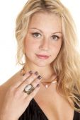 Woman with cameo ring on finger — Stock Photo