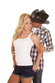 Cowboy getting ready to kiss his woman — Stock Photo