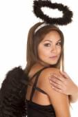 Woman black angel — Stockfoto