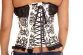 Woman in black and white corset — Foto Stock