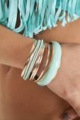 Teal bracelets — Stock Photo