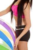 Woman black and pink fitness body ball — Photo