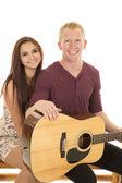 Man playing a guitar foe his girl — Stock Photo