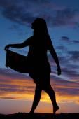 Silhouet van een vrouw dansen — Stockfoto