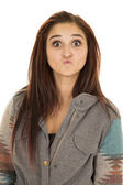 Woman with a funny expression on her face — Stock Photo