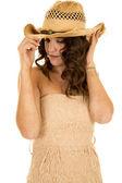Woman wearing western hat — Stock Photo