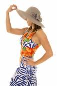 Woman in hawaiian dress — Stock Photo
