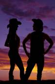 Silhouette of cowboy and cowgirl — Stock Photo