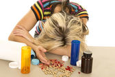 Woman with lots of pills — Stock Photo