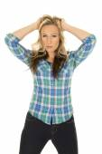 Cowgirl wearing blue shirt — Stock Photo