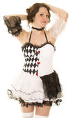 Woman in a black and white costume — Stock Photo
