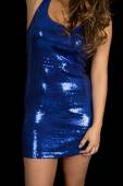 Woman blue shiny dress — Stock Photo