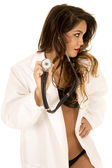 Woman doctor in bikini — Stock Photo