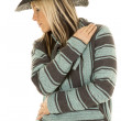 Cowgirl in blue and black poncho — Stock Photo #68393051
