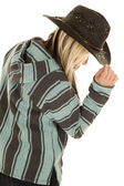 Cowgirl in blue and black poncho — Stock Photo