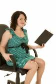 Pregnant Woman with book — Stock Photo