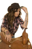Beautiful cowgirl woman with tattoos — Stock Photo