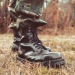 Man wearing black leather boots — Stock Photo #60028581