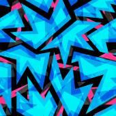Blue neon geometric seamless pattern — Stock Vector