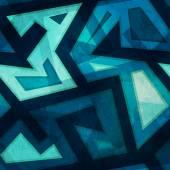 Marine blue geometric seamless pattern with grunge — Stock Vector