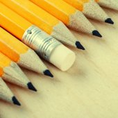 Diagonal group of pencils and eraser — Stock Photo