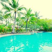 Poolside in luxury hotel, Bali, Indonesia. — Stock Photo